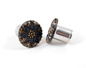 5/8 9/16 1/2 7/16 00g 0g 1 PAIR Black Gold Vintage Glass Button Plugs Gauges Tunnels Wedding Bridal 316L Prom Special Occassion