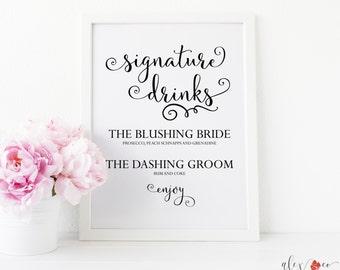 Signature Drink Sign Printable. Signature Cocktail Sign. Wedding Drink Sign. Wedding Drink Menu. Cocktail Sign. Wedding Bar Sign.