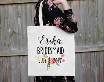 Bridesmaid Tote Bag, Floral Canvas Tote Babe, Maid of Honor Tote Bag, Bridal Party Tote Bag, Custom Wedding Bag, Personalized Wedding, South