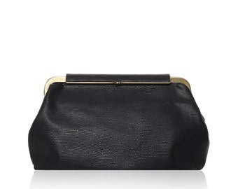 Classic Black Leather Clutch, Evening Purse with Metal Lock