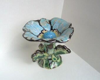 """Ceramic sculpture, artistic ceramic, ceramics, ceramic flower, majolica, art pottery, ceramic vase """"February's flower"""""""