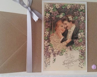 Special Anniversary, Wedding or Engagement Card - To My Sweetheart - With Vintage Postcard / Ideal for Boyfriend, Girlfriend, Wife, Fiancee