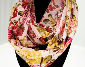 Pink Rose Infinity Scarf