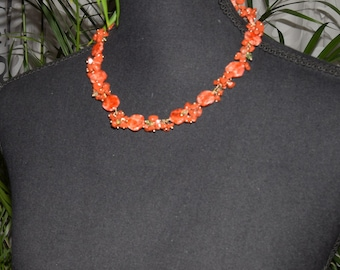 Red Orange necklace with red jasper and Czech glass beads