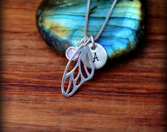 Butterfly wing necklace, sterling silver butterfly/fairy wing necklace, Fairy wing necklace