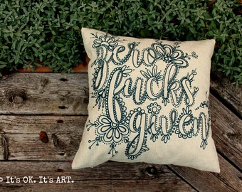 Zero F*cks Given - Adult Coloring Pillow COVER ONLY-Funny Pillow, Throw Pillow, Decorative Pillow Cushion, Pillow Slip, Couch Pillow,