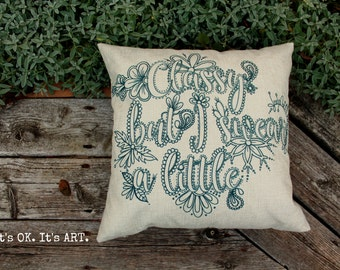 Classy But I Swear A Little-Adult Coloring Pillow COVER ONLY-Funny Pillow,Throw Pillow,Decor Cushion,Couch Pillow,Cushion,Decor Pillow