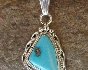 Navajo handmade Sleeping Beauty Turquoise and sterling silver Pendant
