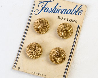 1950's Gold - Washable Glass Buttons  - on original card