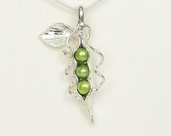 How Many Peas in You Pod? Three Peas Necklace - Sterling and Freshwater Pearls- Handmade and Unique One of a Kind - Family, Mom, Grandma