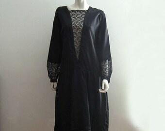 1920s Dress / 20s Silk Dress / Black Silk Lace Illusion / LARGE