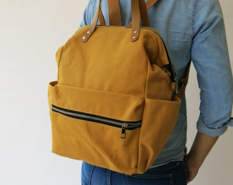 SALE 15% Canvas yellow mustard diaper Backpack ,handbag, Canvas backpack, Diaper Bag, Laptop bag, Women , unisex , School bag, Vegan Leather