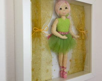 Decorative frame with ballerina doll. Natalia. Dance collection. Ballerina in felt