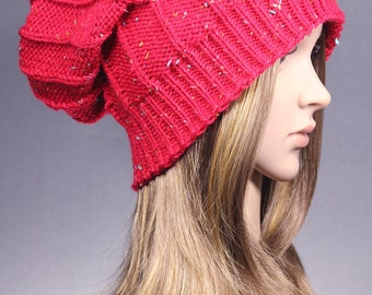 Red slouchy hat, Women Slouchy Hat, Red Knit Hat, Slouchy Beanie, Slouchy hat, Winter Beanie, Winter Hat, women Knit Hat, chunky knit hat