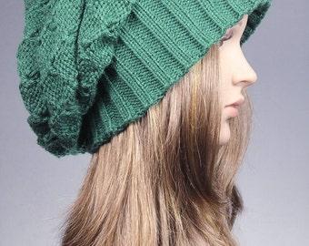 Green Slouchy Beanie, Winter Hat, Knit Hat, Women Hat, Winter Beanie, Slouchy Hat, Chunky Knit Hat, Baggy Tam Hat, green beanie, green Hat