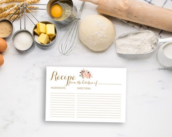 Will you my bridesmaid card printable card to ask bridesmaid recipe card printable bridal recipe card boho recipe card gold recipe card printable forumfinder Choice Image