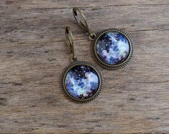 Dark universe earrings, Night blue space dangle earrings, Nebula earrings, Galaxy jewelry, Universe jewelry, Antique brass earrings UJ 088