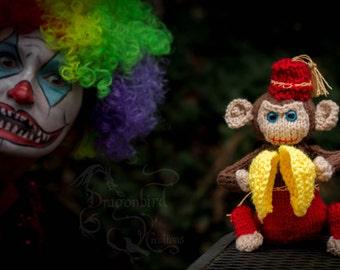 Creepy Monkey With Cymbals, Knitted Monkey, Scary Monkey, Halloween Monkey, Music Monkey, Percussion Monkey, Scary Cymbal Monkey