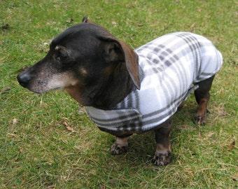 Dachshund Jacket~Reversible Fleece Dog Jacket~Gray Plaid~Double Fleece Coat~Dachshund Clothes~Fleece Dog Jacket~