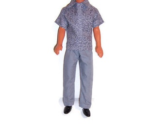 Gray Swirl Print Short Sleeve Shirt and Gray Pants