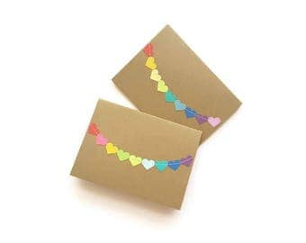 4 x 5.5 Rainbow Hearts Thank You Cards with Envelope / Love Notes / Kraft / White Cards / Blank Note Cards / Bunting Flag Cards/ Set of 12
