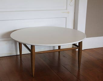 Modern Coffee Table - Wood & White Painted Round Table