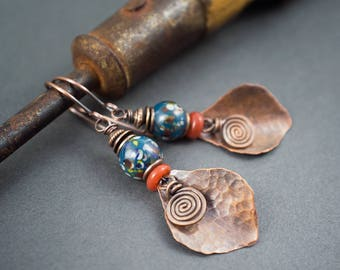 rustic boho earrings • metal copper leaves dangles • speckled Indonesian glass beads • hand hammered • blue earrings • ethnic chic jewelry