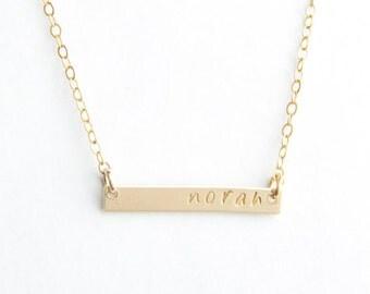 "Mini Name Bar Necklace, 1"", Gold Filled, Sterling Silver or Rose Gold Filled"