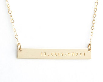 "Long Bar Roman Numeral Date Necklace, 1.50"", Personalized, Gold Filled, Sterling Silver, Rose Gold Filled"