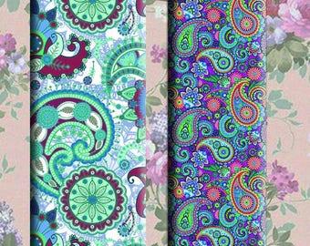 Paisley 1x3 inch-  Digital Collage Sheet printable images for pendants magnets micro-slides
