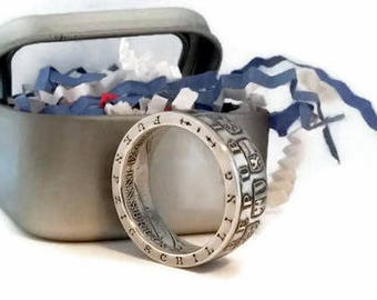 1964 Austria 50 Schilling .900 Silver Coin Ring