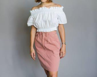Pink denim high-waisted skirt