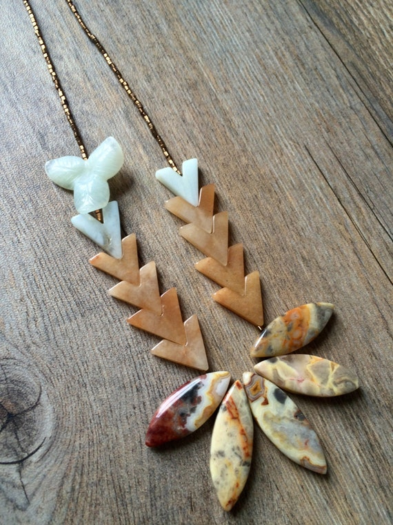 Long beaded necklace with crazy lace agate petals, chevron necklace,
