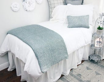 Solid White Linen Look Dorm Room Extended Length 34 Part 56