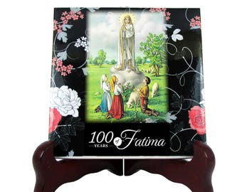 Our Lady of Fatima 100 anniversary collectible tile - religious gifts - catholic gifts - religious art - Virgin of Fatima - Virgin Mary art