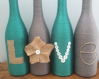 Yarn wrapped bottles, wine bottles, wrapped bottles with burlap love