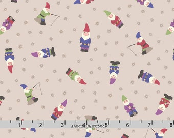 Garden Gnomes Fabric, Lewis & Irene Grandma's Garden A199 3, Garden Gnomes on Natural, Mini Gnomes Quilt Fabric, Cotton Yardage