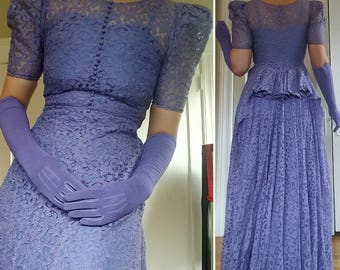Early 1940s Periwinkle Blue Lace Dress with Bustle