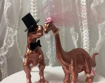 Rose Gold, Wedding, Cake Topper, Dinosaur, Blush, Animal, Unique, Woodland, Barn, Destination Wedding, Dinosaur Theme, T-Rex, Rose, Gold