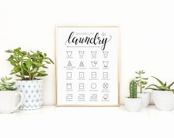 Endless Love & Laundry Art Print, Laundry Symbol Guide Print, Laundry Room Decor, 8 x 10 Wall Decor