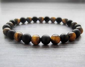 21st birthday gifts for men bracelet Tiger eye bracelet Matte bracelet Onyx bracelet Men bracelet Black bracelet Elastic bracelet Meditation