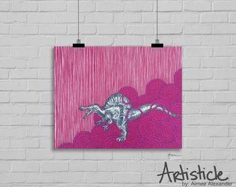 Spinosaurus Print, Dinosaur Drawing, Jurassic Illustration, Red Pink Magenta. Boys Room Decor, Dino Artwork, Man Cave, Black White Stipple