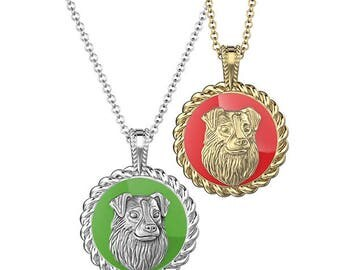 Custom Australian Shepherd Enamel Necklace