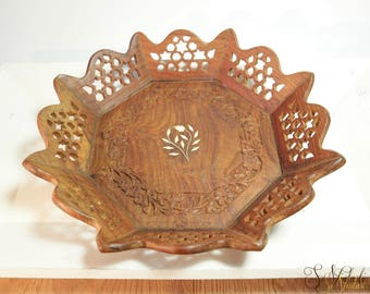 Vintage woodcarved tray with floral inlay, India intricately hand carved octogan wooden tray, Handcrafted inlaid rosewood tray India