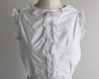 Vintage Edwardian Victorian Corset Cover / Victorian Edwardian Blouse / Antique Cotton Lingerie / Lace and Ruffle Trim