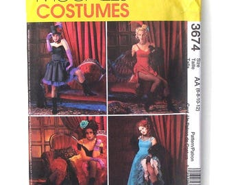 McCall's Ladies Can-Can/Bar Room Dancer Costumes Sewing Pattern #3674 - UNCUT - Size 6+8+10+12 (Breast 30+31+32+34)