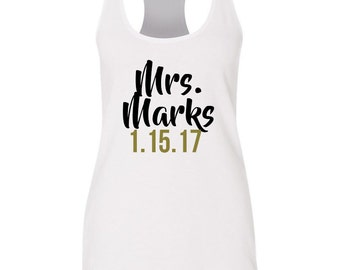 Mrs Tank Top, Bride Tank Top, Racer Back Tanktop, Future Mrs Shirt, Bridal Tank Top, Bachelorette Tank Top