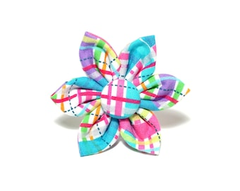 Easter Plaid Flower for Dog collar, Cat collar, collar flower, pet collar flower, wedding flower, flowers for dog collars