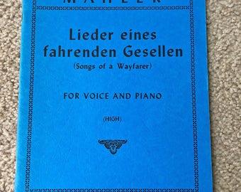 Songs of a Wayfarer, Mahler, Lieder eines fahrenden Gesellen, High Voice and Piano, International Music Co, Sheet Music, German Lieder