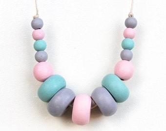 Pretty Pastels - Wooden Beaded Necklace
